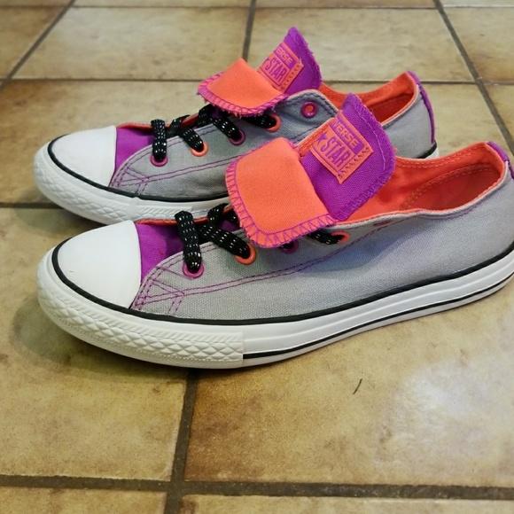 7efa912b4c37 Converse Other - Converse shoes girls 4 chucks purple gray all star
